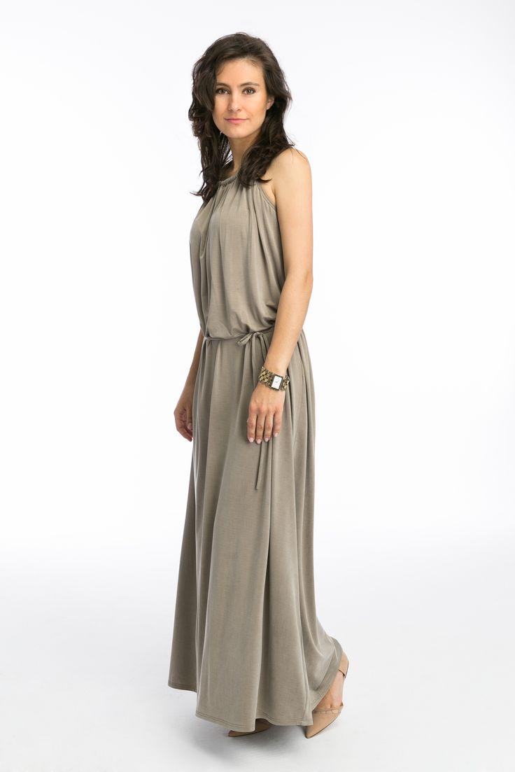 Elegant long dress for mom #maternity #dress #pregnancy #cupro #beige
