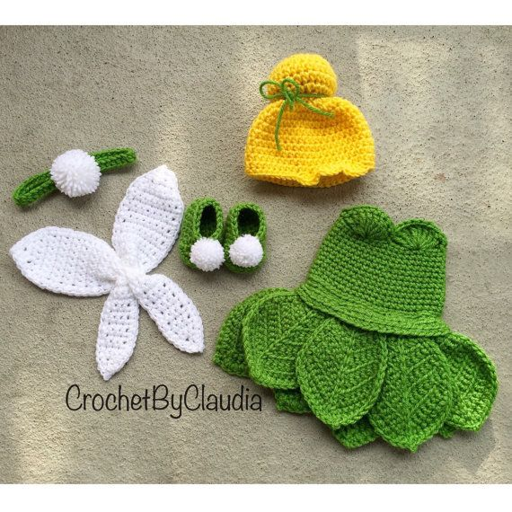 MADE TO ORDER----   Your little princess will look absolutely adorable in this Tinker bell inspired costume set!It is made of soft acrylic