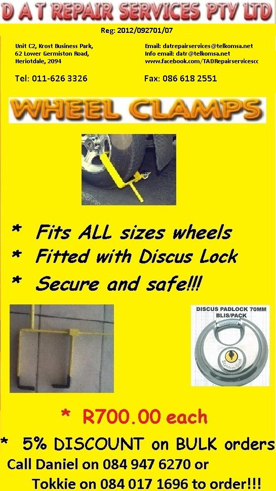 Fits all makes of Vehicles. Comes with padlock. Bulk orders 5% discount. Contact 011626 3326 Daniel