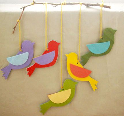 Móbile de passarinhos de feltro: Picture, Of Mobile, Felts, Finches, Felt, Crafts