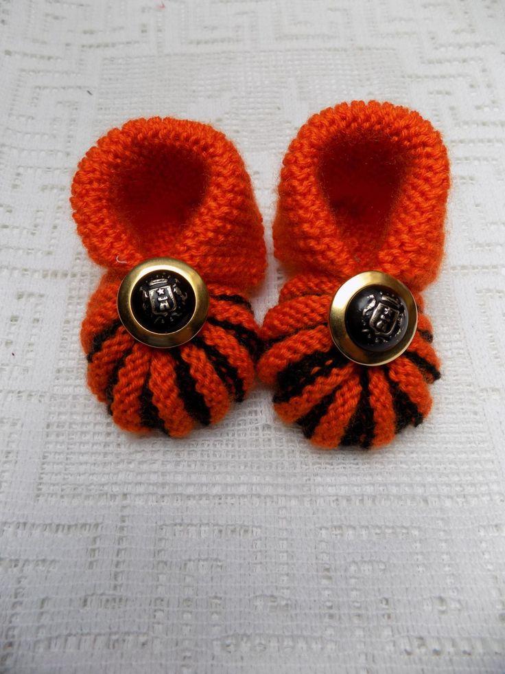 Chaussons citrouille  Halloween laine orange et noire