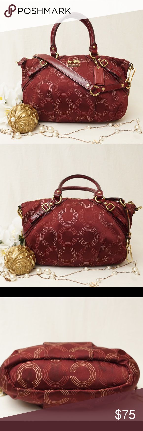 """🌹COACH Madison Op Art Satchel Burgundy Very pretty🎀 Beautifully crafted with high quality fabric and leather edges. No more on sale.  Gently used condition. Has a few stains exterior bottom and front and interior sides as pictured. Size 14""""x8,5""""x4"""". Pet/smoke free home.  AUTHENTIC❣️FAST SHIPPING! Please see my other listings! Coach Bags Satchels"""