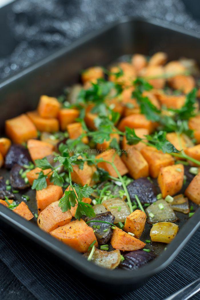 Geroosterde zoete aardappel met ui - OhMyFoodness