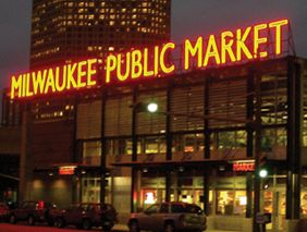 """Milwaukee Public Market on Water Street.  nice, small (mostly food, fresh, drink and dine) shopping experience downtown. Slightly highfalutin -but high quality for sure. Best Italian Sausage I've ever had, from """"Nehrings market"""""""