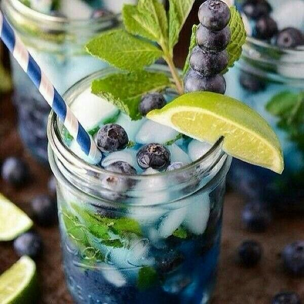 Blueberry Mojito...healthy tip, skip the rum and sugar, cut back lime to just a squeeze for a refreshing and zero calorie detox water