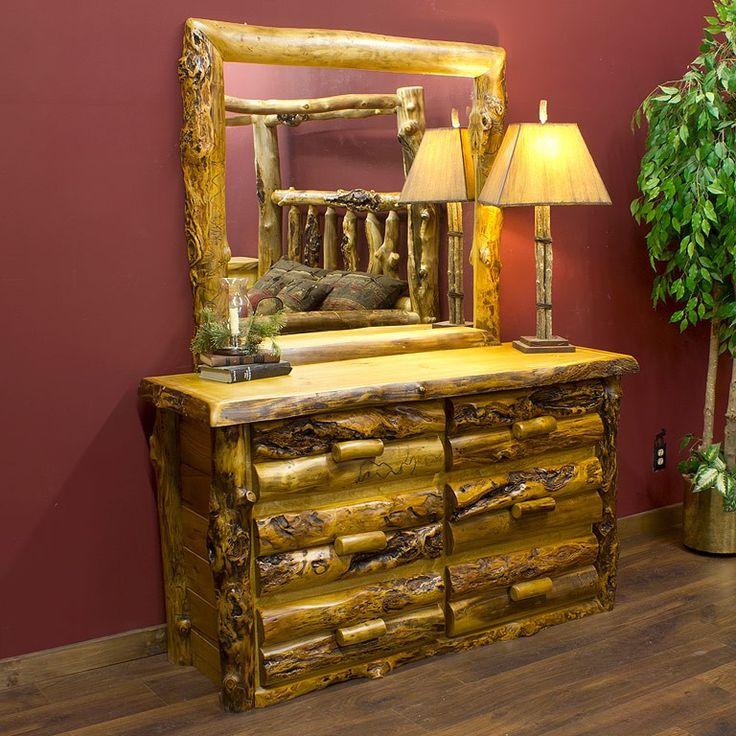 Summit Peak Aspen 6 Drawer Log Dresser With Extra Gnarly Aspen Logs |  Rustic Furniture