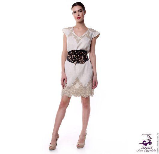 Платья ручной работы. Заказать Платье льняное с вышивкой