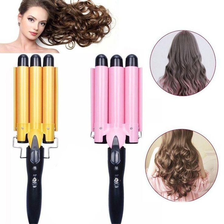 Details about Triple 3 Barrel Ceramic Hair Curler Curl