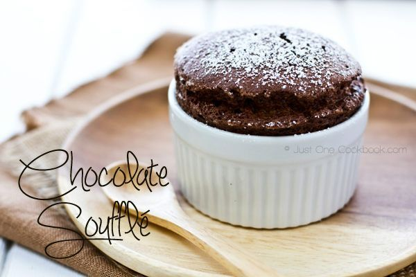 Chocolate Soufflé | Dessert Recipe | Just One Cookbook. Calls for 8 egg whites but makes 6 servings.