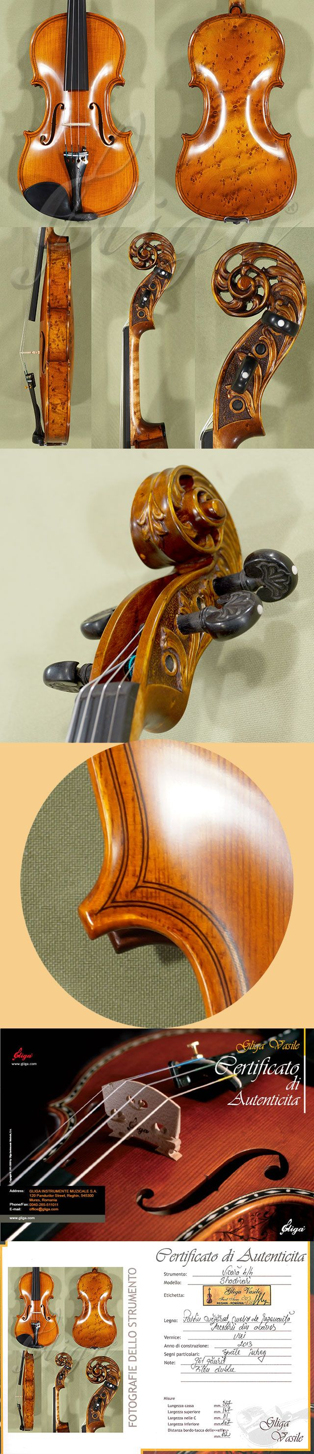 4/4 MAESTRO VASILE GLIGA Inlaid Double Purfling Scroll Bird's Eye Maple One Piece Back Violin