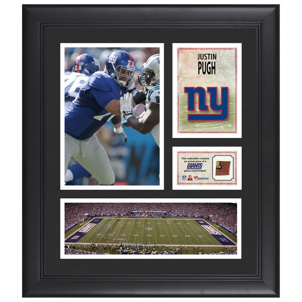 "Justin Pugh New York Giants Fanatics Authentic Framed 15"" x 17"" Collage with Piece of Game-Used Football - $79.99"