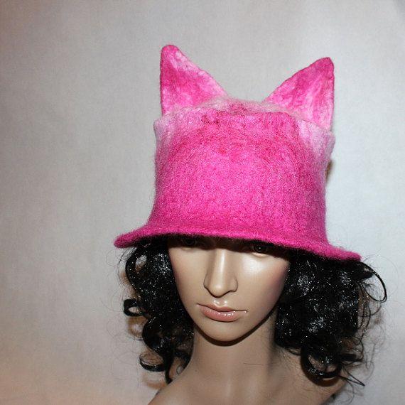 Felted hat pink pussycat wool top pussyhat art winter by EsartFelt