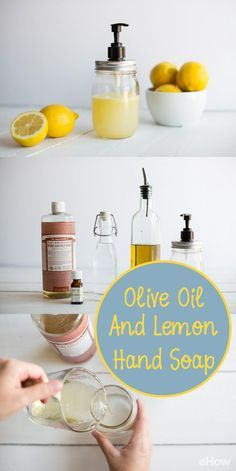 Making your own liquid hand soap is one of the easiest cost-saving projects for the home. Here's how to make an olive oil and lemon liquid hand soap that's made from four simple ingredients.  http://www.ehow.com/how_5809197_make-lemon-liquid-hand-soap.html?utm_source=pinterest.com&utm_medium=referral&utm_content=freestyle&utm_campaign=fanpage