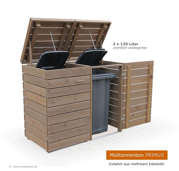 Mülltonnenbox PRIMUS - modernes Mülltonnenhaus aus asiatischer Zeder (FSC) - extra stabile Müllbox für beliebig viele Stellplätze.