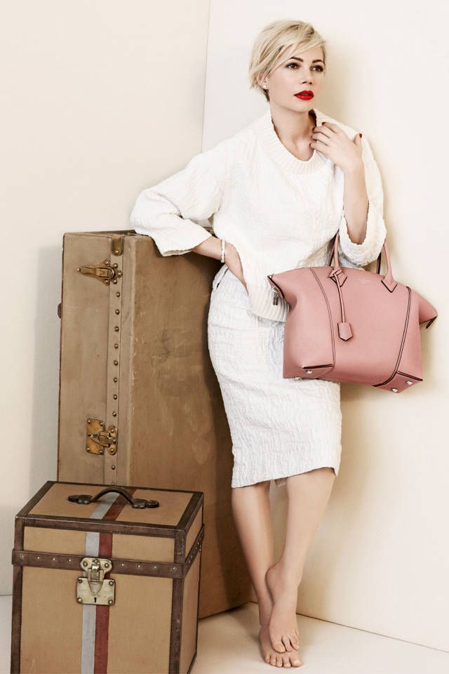 Traveling in style.  Michelle Williams stuns in the Louis Vuitton Spring 2014 ad campaign.