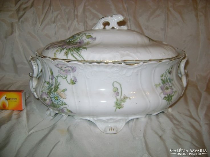 Szépséges antik porcelán leveses tál - sérült