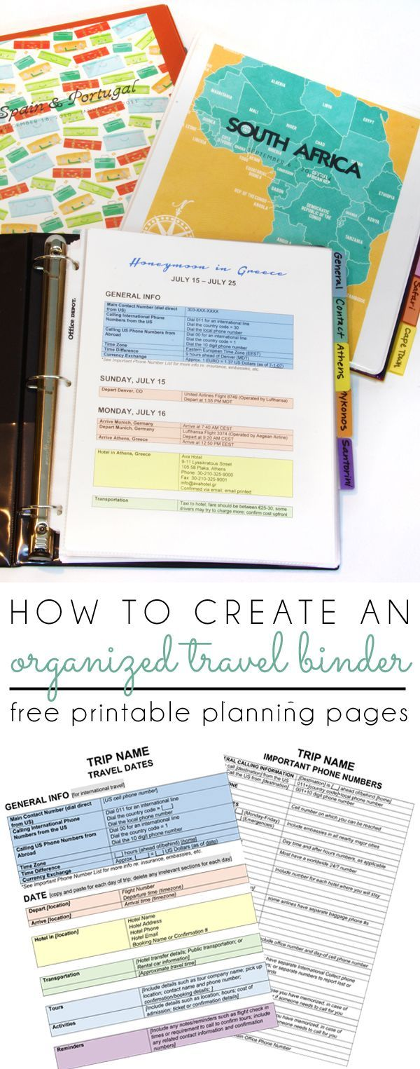 CREATE AN ORGANIZED TRAVEL BINDER with these free printable planning pages! Start planning your next vacation using this itinerary template perfect for travel near home or abroad. Make your trip stress free by following these international travel tips.