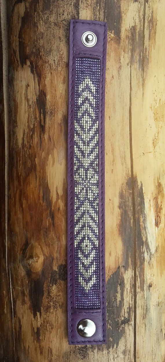 Purple leather bracelet with silver Sun by BeadAndLeatherStudio