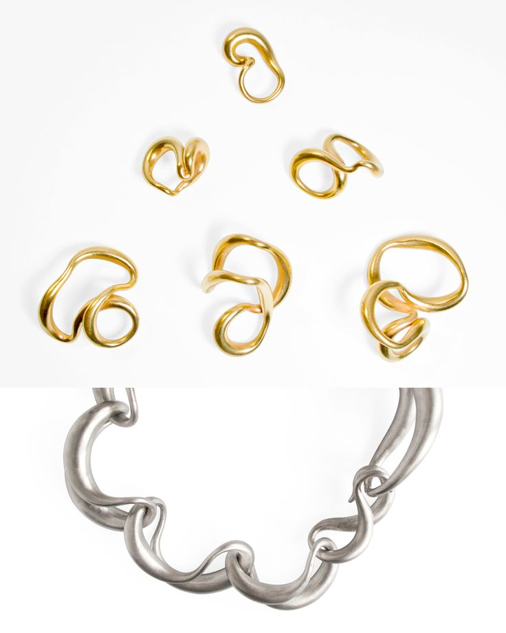 Noon Passama Formal Research - A necklace, 2015 / Formal Research - H rings, 2015 Rigid clay, silver, gold  New work designed for Klimt02 Gallery in occasion of the exhibition To Recover, Barcelona, October 2015.:
