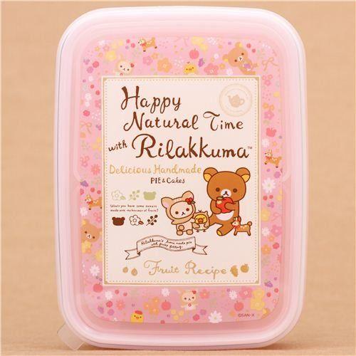 Fiambrera caja bento rosa oso ciervo flores Rilakkuma