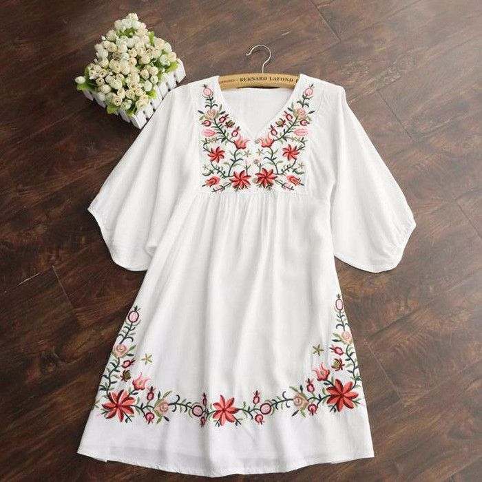 Gender: Women Waistline: Natural Decoration: Embroidery Sleeve Style: Regular Pattern Type: Print Style: Vintage Material: Cotton Season: Summer Dresses Length: Above Knee, Mini Neckline: V-Neck Silho