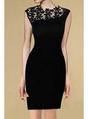 Ronda elegante cuello de encaje Empalme Vestido sin mangas Negro para las mujeres