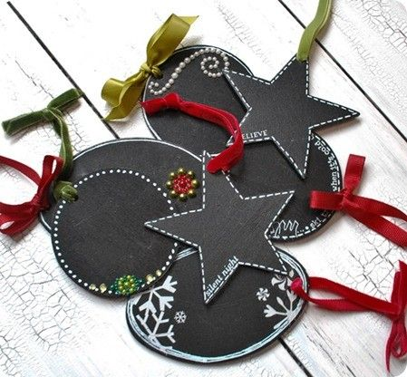 Chalkboard paint gift tags for Christmas.