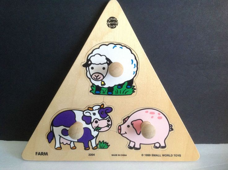 1999 Small World Toys Farm Animals 3 Piece Wooden Puzzle Item no. 2204
