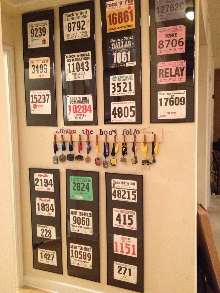 How I display my medals and race numbers...