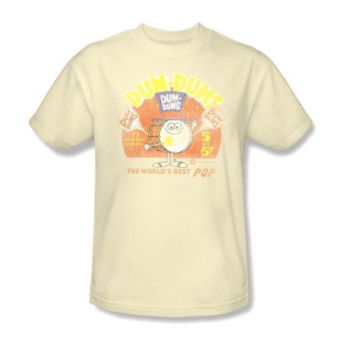 Dum-Dums-T-shirt-retro-Lolipops-candy-distressed-100-cotton-beige-tee-DUM100