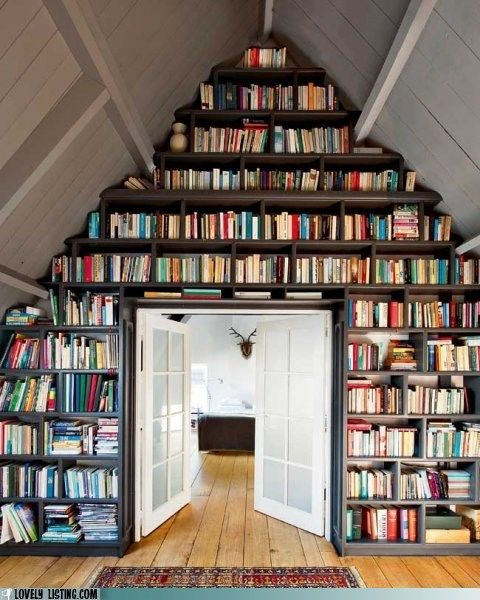 Triangle book shelving. Its a classic look.: Ladder, Bookshelves, Idea, Home Libraries, Attic Spaces, Attic Libraries, Book Wall, Book Shelves, Bookca