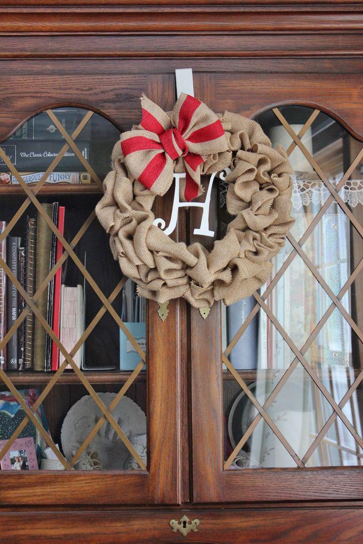 Burlap Initial Wreathe