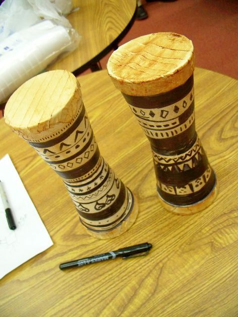 African drums with styrofoam cups, masking tape, shoe polish and sharpies
