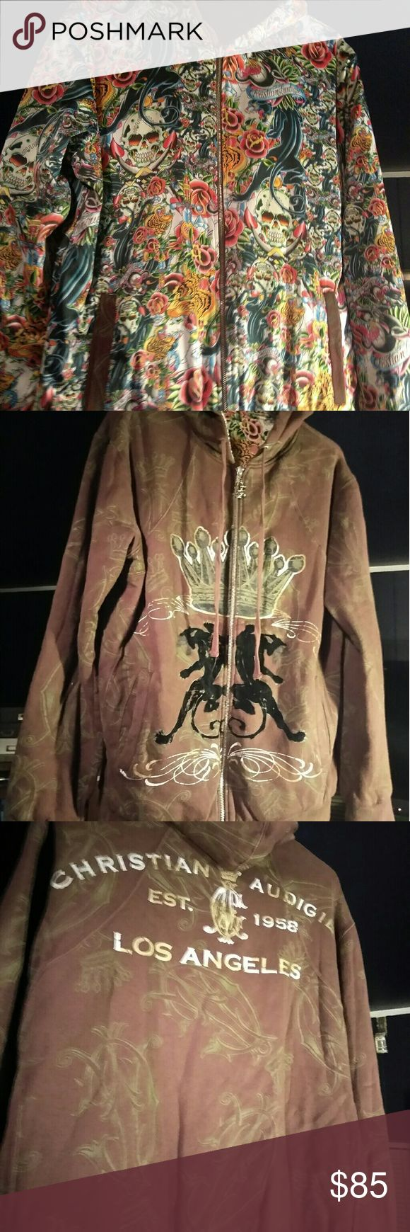 Christian Audigier reversible hoodie Same exact one that Rich Boy wore while rapping in his throw some D's on it official music video. The inside lining is silk and feels amazing. Cost $385.00. reversible brown and black jacket. Christian Audigier Jackets & Coats