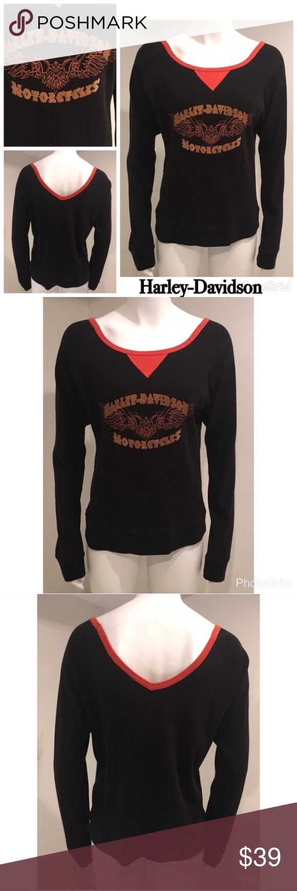 "Harley Davidson XL Women's LS T-Shirt / Sweatshirt Harley Davidson XL V-Neck Women's Black Orange 100% Cotton Long Sleeve -between sweatshirt & t-shirt material  No stains No holes Light wear Bust 21"" (armpit to armpit) Harley-Davidson Tops"