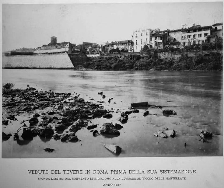 """Tevere: sponda destra, dal convento di S. Giacomo alla Lungara al vicolo delle Mantellate... notare la costruzione dei muraglioni che avanza (una preziosa testimonianza del """"com'era... com'è"""")"""