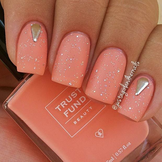 Peachy Matte Nails with Sequins and Silver Studs: