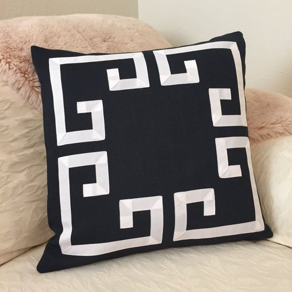 Greek Key Decorative Pillows Part - 48: Navy Greek Key Pillow Cover-Navy And White Pillow-Blue And Ivory Pillows-Blue  Decorative Pillows, Color Options Available, Zippers