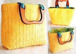 borse borsa fai da te diy riciclare vecchio maglione cardigan moda accessori shopping bag tutorial