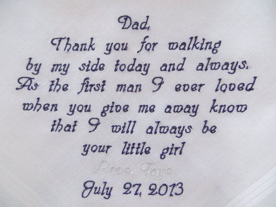 Free Gift Box. Personalized Embroidered Wedding Handkerchief for your Dad. Embroidered Keepsake., $24.00