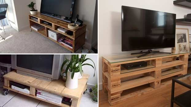 Mobiletti porta tv realizzati con bancali in legno - Mobile con bancali ...