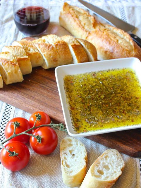 Tuscan Dipping Oil - so yummy!  Sprinkle Parmesan on top to make it even more delicious