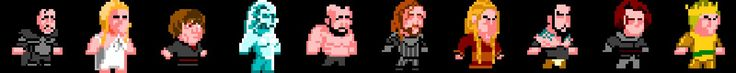 game characters, pixelart, got, game of thrones, john snow, arya stark, drogo, lanister, mountain, hound ai.