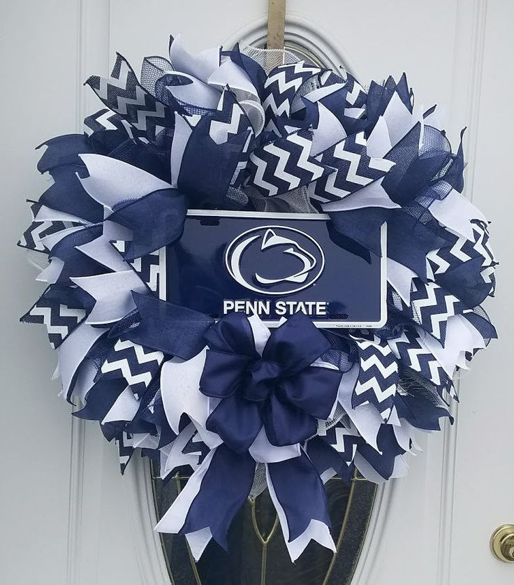 Penn State Mesh Wreath,Front Door Wreath,Deco Mesh Wreath,College Decor,Dorm Wreath,Dorm Room Decor,Blue and White Wreath,Football Wreath by MeshWreathsnMore on Etsy