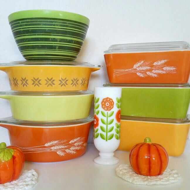 Mini Fall Vintage Pyrex Display - Bright Stripes, Town and Country, Verde, Autumn Harvest, Avon milk glass.