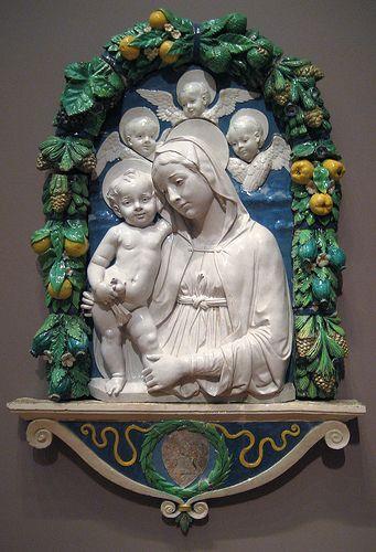 Andrea della Robbia (Florence, 1435-1525) ~ Virgin and Child with Putti ~ ca.1490-1495 ~ Andrea della Robbia was an Italian Renaissance sculptor, especially in ceramics.