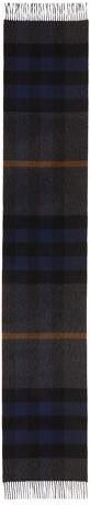 Burberry Men's Half Mega Check Cashmere Scarf, Charcoal/Dark Indigo