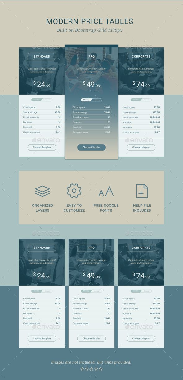 Best Pricing Tables Templates Images On   Pricing