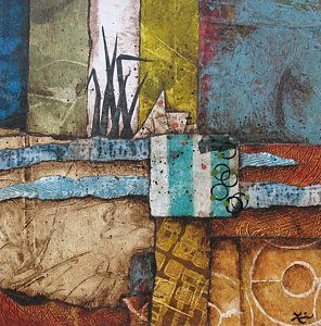 Abstract Landscape Mixed Media - Shoreline II by Laura  Lein-Svencner
