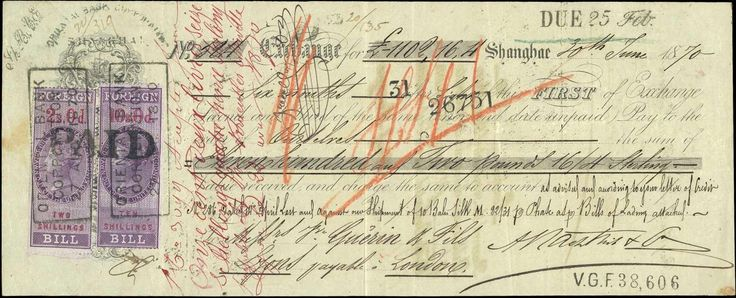 British Foreign Bill stamps on 1870 Oriental Bank Corporation Bill of Exchange - Negotiable instrument - Wikipedia, the free encyclopedia